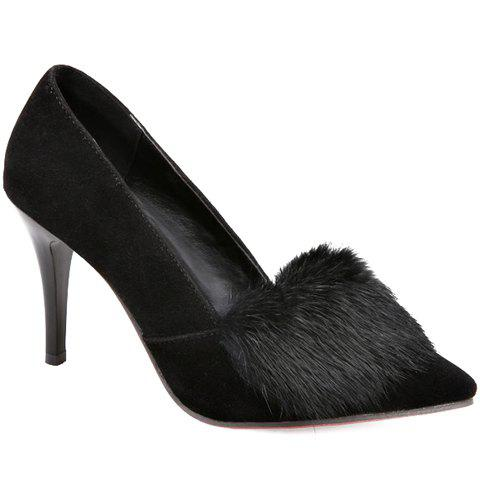 Trendy Faux Fur and Suede Design Pumps For Women - BLACK 39