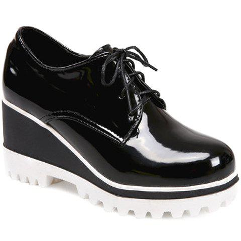 Sweet Lace-Up and Patent Leather Design Wedge Shoes For Women - BLACK 36