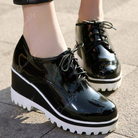 Sweet Lace-Up and Patent Leather Design Wedge Shoes For Women - BLACK 39