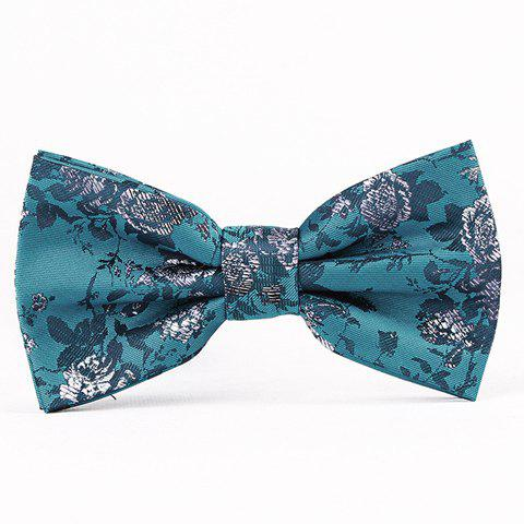 Hot Sale Retro Style Business  Floral Jacquard Bow Tie For Men - TURQUOISE