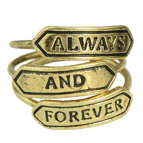 A Suit of Exquisite Letter Carving Rings For Women - BRONZE COLORED ONE-SIZE