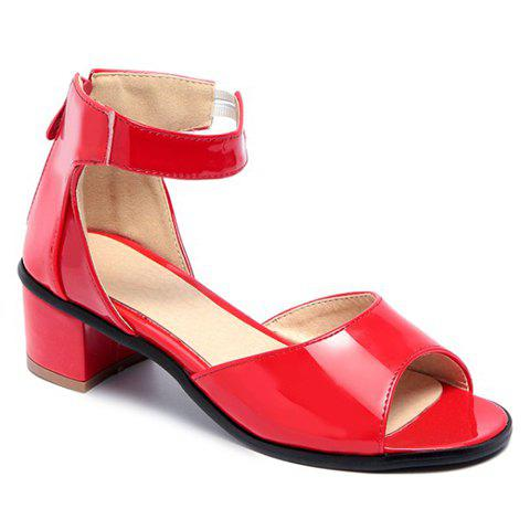 Stylish Peep Toe and Chunky Heel Design Women's Sandals - RED 38