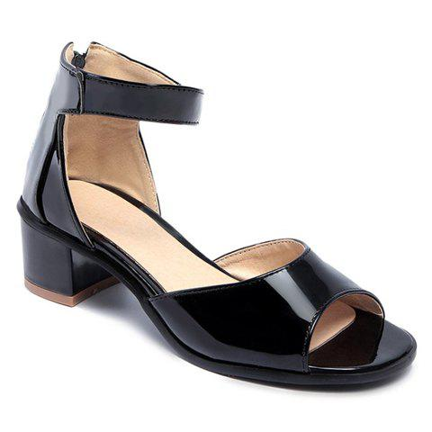 Stylish Peep Toe and Chunky Heel Design Women's Sandals - BLACK 38