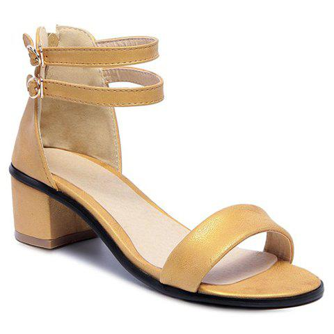 Leisure Double Strap and Chunky Heel Design Women's Sandals - YELLOW 39