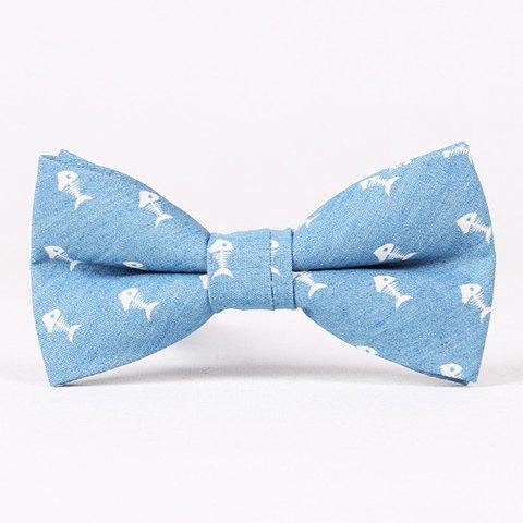 Casual Retro Denim Fishbone Pattern Bow Tie For Men - ICE BLUE