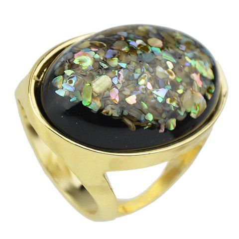 Faux Gemstone Oval Ring - BLACK ONE-SIZE