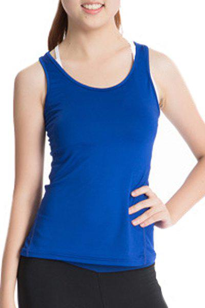 Stylish Scoop Neck Stretchy Women's Yoga Tank Top - BLUE M