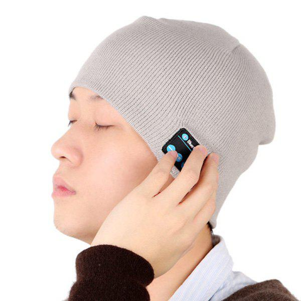 Hot Sale Outdoor Sports Bluetooth Headphones Speaker Mic Winter Warm Knitted Beanie Hat - LIGHT GRAY