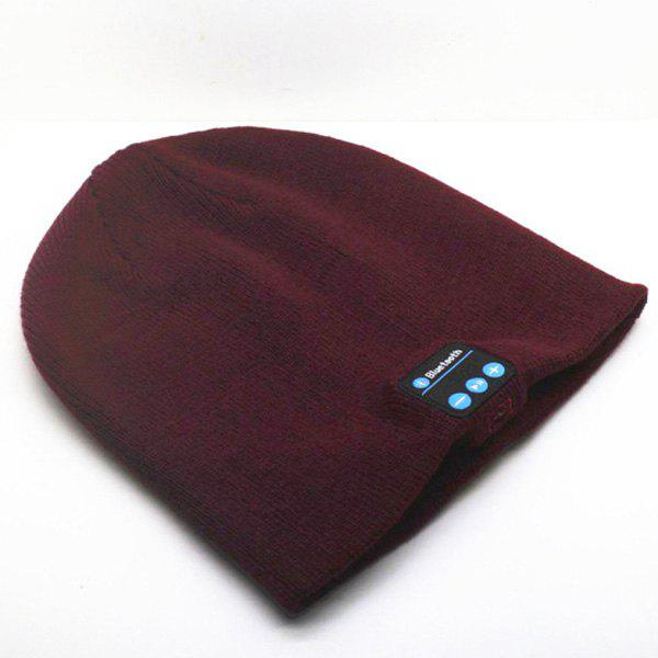 Hot Sale Outdoor Sports Bluetooth Headphones Speaker Mic Winter Warm Knitted Beanie Hat - WINE RED
