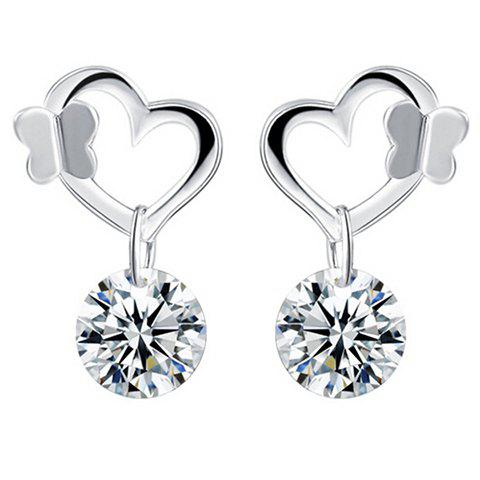 Pair of Butterfly Rhinestone Heart Wedding Earrings Jewelry - SILVER