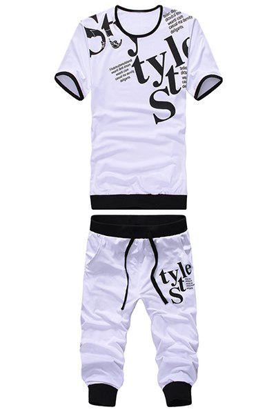 Round Neck Letters Print Short Sleeve Men 's T-Shirt Sport Suit ( T-Shirt + Capri Pants ) - WHITE 3XL