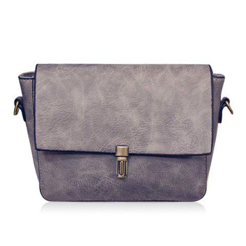 Fashion Chain and PU Leather Design Crossbody Bag For Women - GRAY