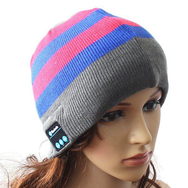 Hot Sale Outdoor Sports Bluetooth Headphones Speaker Mic Stripe Pattern Winter Knitted Beanie Hat - LIGHT GRAY