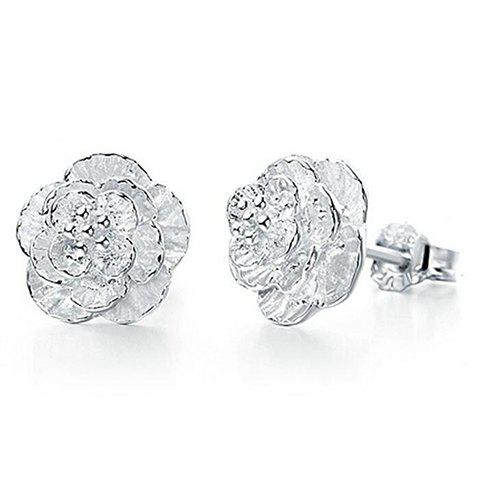 Pair of Charming Rose Wedding Earrings Jewelry For Women