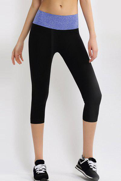 Active Elastic Waist Bodycon Hit Color Women's Cropped Yoga Pants - BLUE S