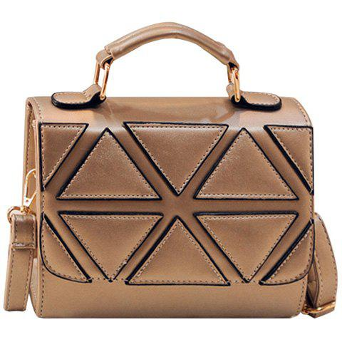 Fashion Geometric Pattern and PU Leather Design Tote Bag For Women - GOLDEN