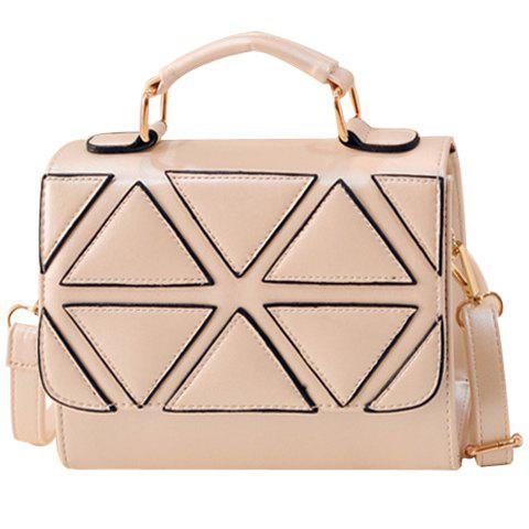 Fashion Geometric Pattern and PU Leather Design Tote Bag For Women fashion metal and pu leather design tote bag for women
