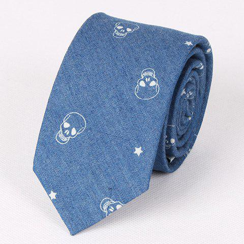 Casual Retro Star and Skull Pattern Denim Neck Tie For Men