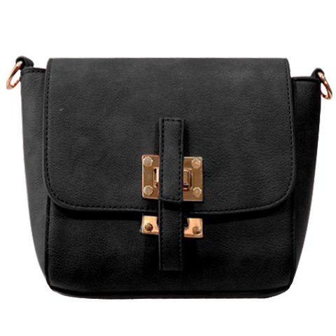 Simple PU Leather and Solid Colour Design Crossbody Bag For Women - BLACK