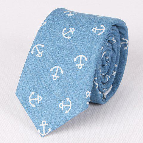 Casual Retro Anchor Pattern Denim Neck Tie For Men - ICE BLUE