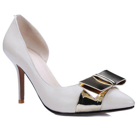 Elegant Bow and Pointed Toe Design Women's Pumps - 38 OFF WHITE