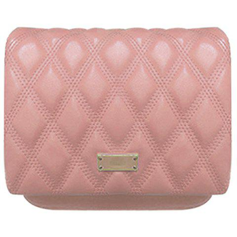 Casual Checked and PU Leather Design Crossbody Bag For Women - PINK