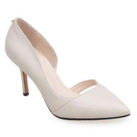 Graceful Solid Color and Pointed Toe Design Women's Pumps - OFF WHITE 37