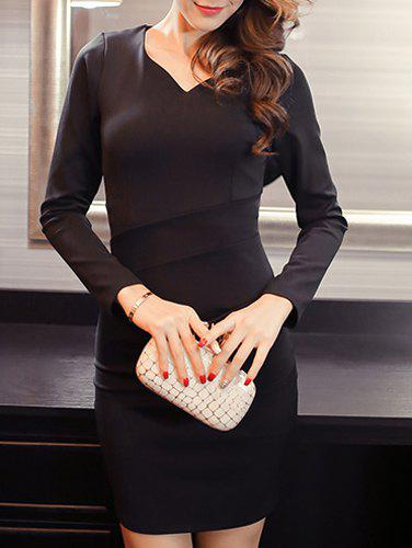 Sexy Long Sleeves V-Neck Fitted Women's Dress - BLACK S
