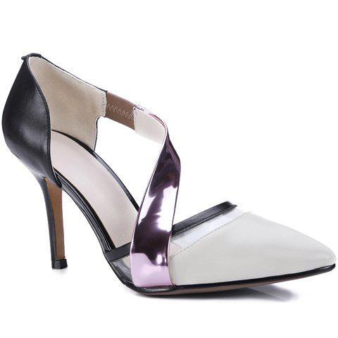 Stylish Color Block and Pointed Toe Design Women's Pumps - OFF WHITE 37