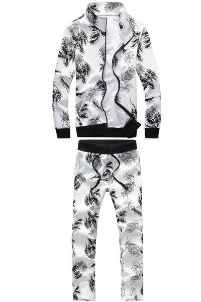 Turn-Down Collar Floral Print Rib Splicing Long Sleeve Men's Hoodie+Pants