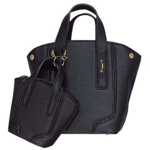 Simple Lichee Pattern and PU Leather Design Tote Bag For Women - BLACK