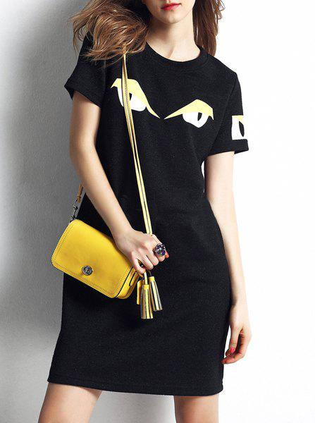 Stylish Round Neck Short Sleeves Loose-Fitting Women's Dress - BLACK ONE SIZE(FIT SIZE XS TO M)
