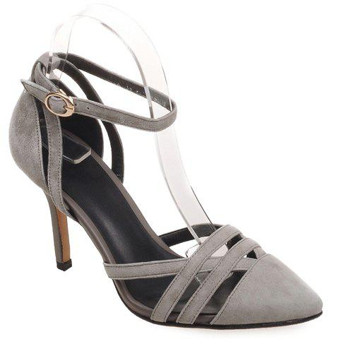Trendy Hollow Out and Two-Piece Design Women's Pumps - GRAY 39