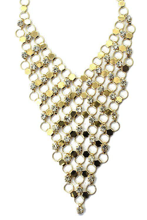 Noble Rhinestoned Hollow Out Necklace For Women - GOLDEN
