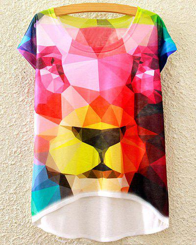 Stylish Round Neck Short Sleeve Colored Lion Pattern Women's T-Shirt
