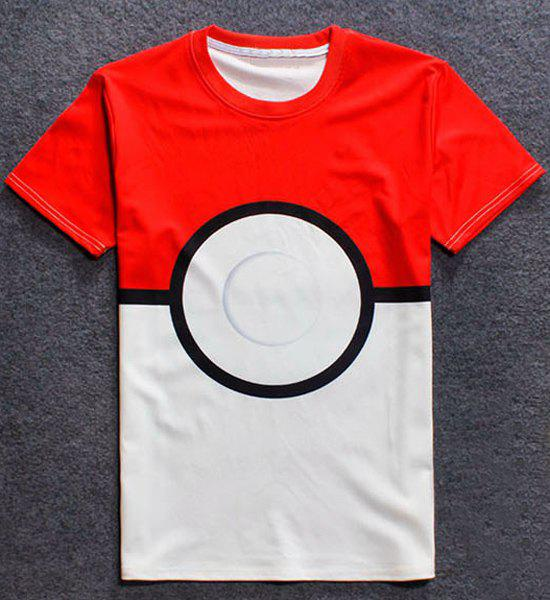 3D Color Block Geometric Splicing Round Neck Short Sleeve Men's T-Shirt - RED S
