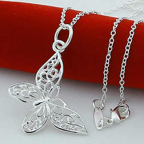 Butterfly Hollow Out Pendant Necklace - SILVER