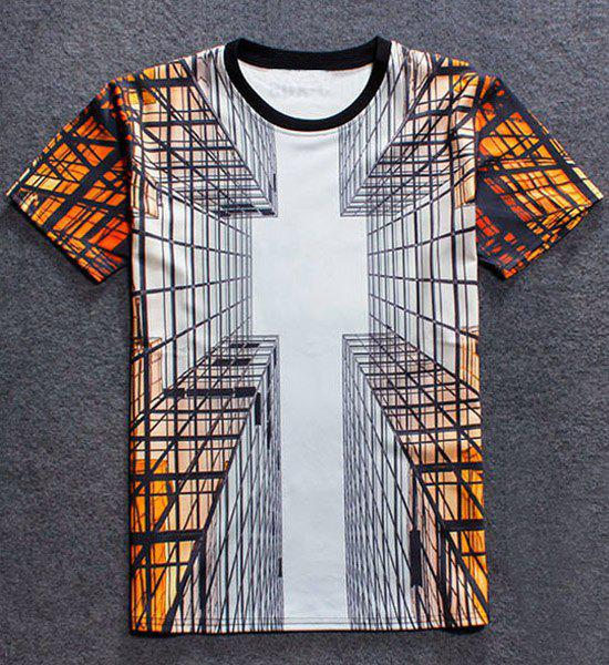 3D Building Print Round Neck Short Sleeve Men's T-Shirt - COLORMIX S