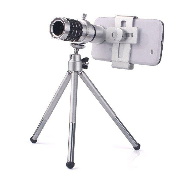 Hot Sale 12X Wide Angle Monocular Telescope For Mobile Phone Lens with Universal Clip and Tripod - SILVER