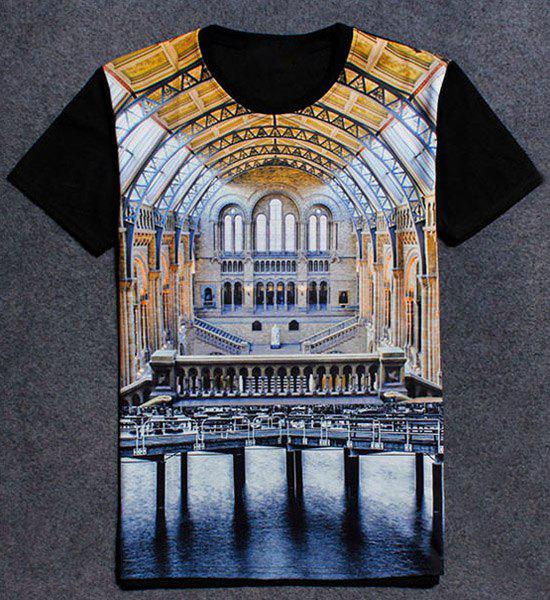 Round Neck 3D Palace Print Short Sleeve T-Shirt For Men