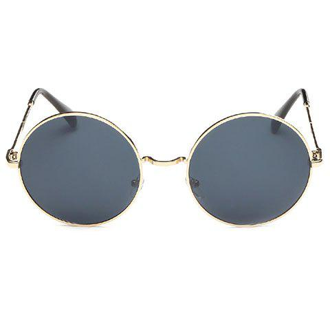 Chic Retro Golden Round Frame Women's Sunglasses - DEEP GRAY