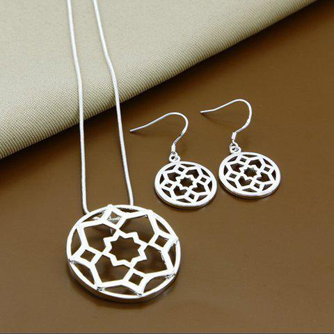 A Suit of Hollow Out Floral Necklace and Earrings - SILVER