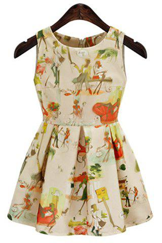 Country Style Round Collar Sleeveless 3D Digital Print Colored Women's Sun Dress - APRICOT S