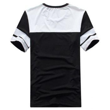 Round Neck Color Block Short Sleeve Men's T-Shirt Sport Suit ( T-Shirt + Capri Pants ) - BLACK L