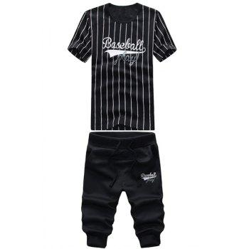 Round Neck Baseball Stripe and Letters Print Short Sleeve Men's T-Shirt Sport Suit ( T-Shirt + Capri Pants )