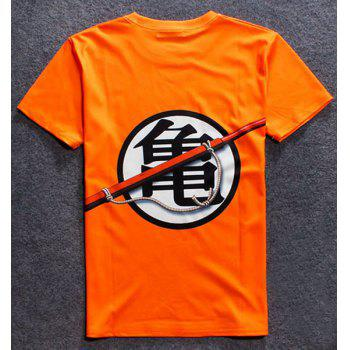3D Chinese Character Print Round Neck Short Sleeve Men's T-Shirt - ORANGE S