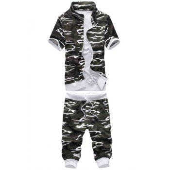 Stand Collar Camouflage Print Short Sleeve Men's Sport Suit ( Sweatshirt + Capri Pants )