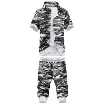 Stand Collar Camouflage Print Short Sleeve Sport Suit ( Sweatshirt + Capri Pants ) For Men