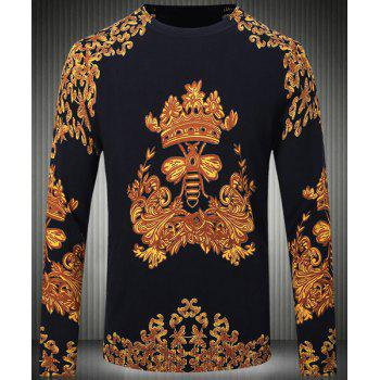 Slim Fit Round Collar Pullover Long Sleeves Chinese Style Printing Sweater For Men