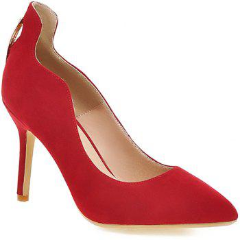 Stylish Metal and Hollow Out Design Women's Pumps - RED 39